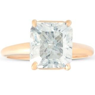 Bliss 14k Yellow Gold 5.16 ct Radiant Cut Diamond Engagement Ring Clarity Enhanced