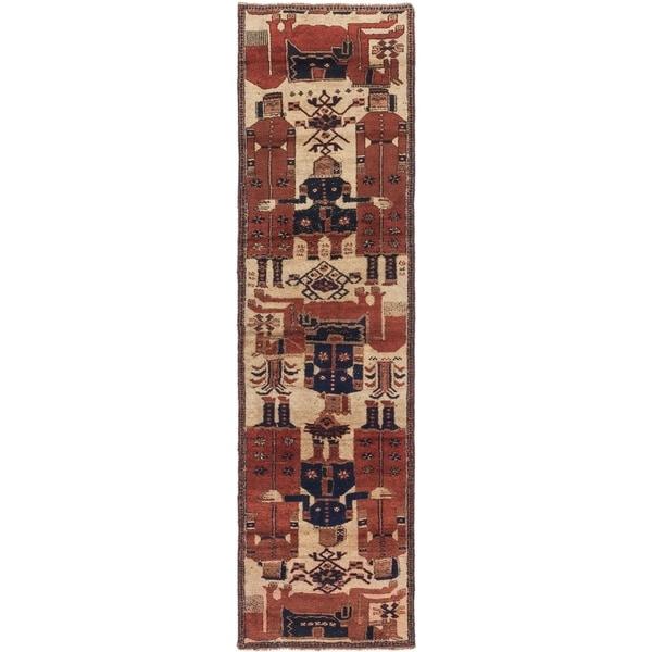Hand Knotted Shiraz Semi Antique Wool Runner Rug - 3' 2 x 11' 5
