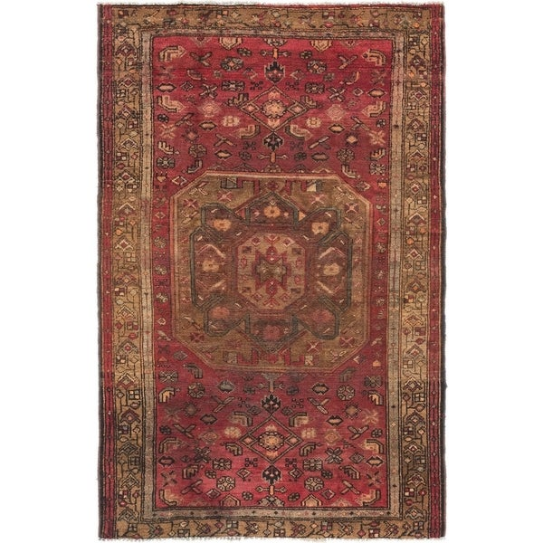 Hand Knotted Shiraz Semi Antique Wool Area Rug - 4' x 6' 6