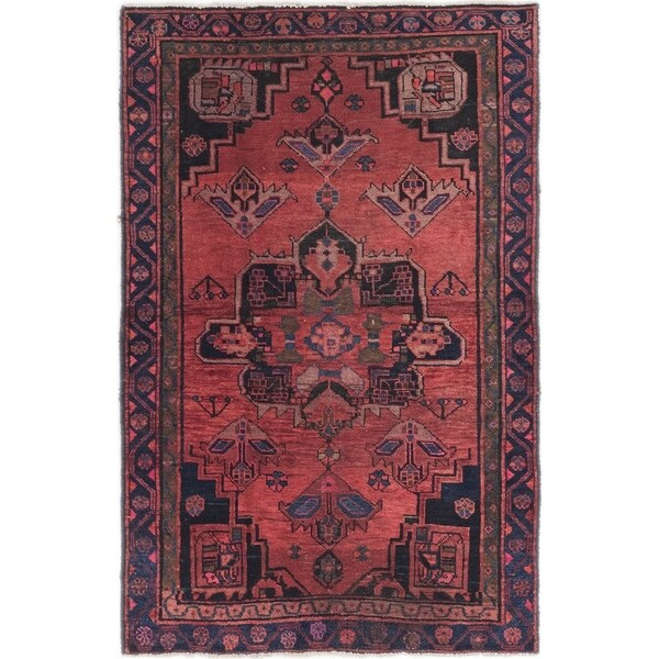Hand Knotted Shiraz Semi Antique Wool Area Rug - 4' x 6' 3
