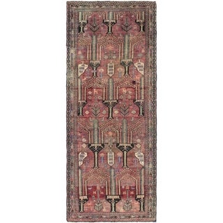 Hand Knotted Shiraz Semi Antique Wool Runner Rug - 3' 7 x 9' 1
