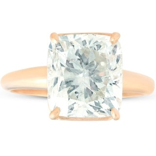 Pompeii3 14k Yellow Gold 6.60 ct Cushion Shape Diamond Solitaire Engagement Ring Clarity Enhanced