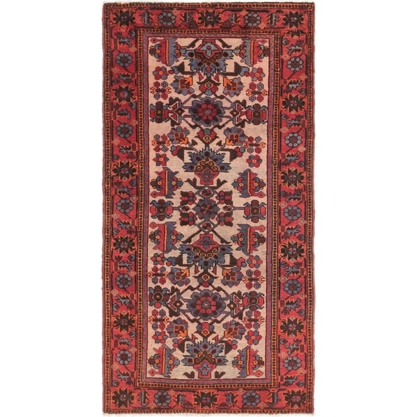 Hand Knotted Shiraz Semi Antique Wool Runner Rug - 3' 8 x 7'