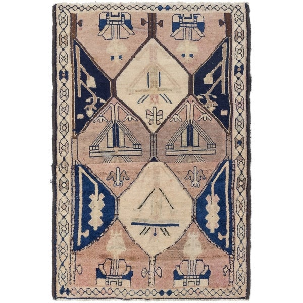 Hand Knotted Shiraz Antique Wool Area Rug - 4' 2 x 6' 2