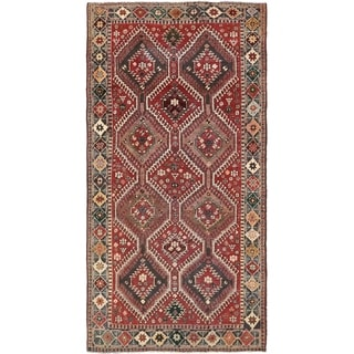 Hand Knotted Shiraz Semi Antique Wool Area Rug - 5' 2 x 10' 2