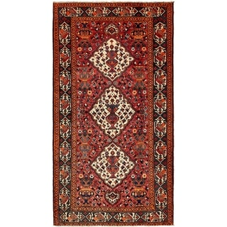 Hand Knotted Shiraz Semi Antique Wool Area Rug - 5' 3 x 9' 10