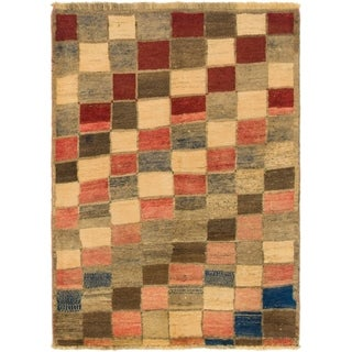 Hand Knotted Shiraz-Gabbeh Wool Area Rug - 3' 7 x 5'