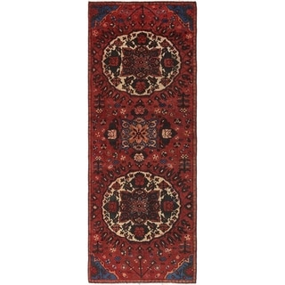 Hand Knotted Shiraz Semi Antique Wool Runner Rug - 3' 4 x 9' 4