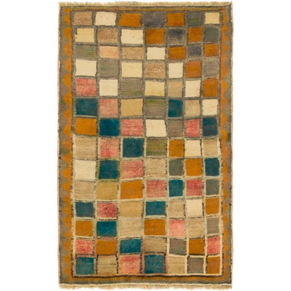 Hand Knotted Shiraz-Gabbeh Wool Area Rug - 3' 4 x 5' 7