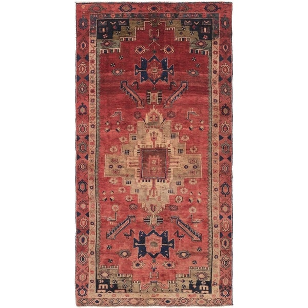 Hand Knotted Shiraz Semi Antique Wool Runner Rug - 4' 2 x 8' 8