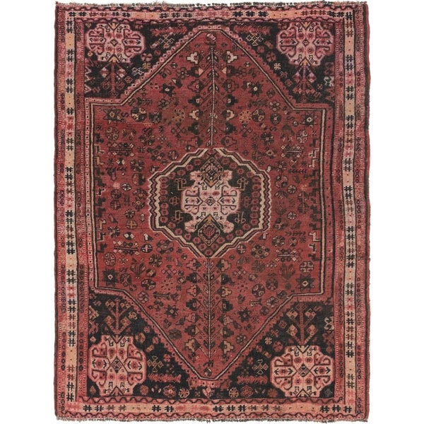 Hand Knotted Shiraz Semi Antique Wool Area Rug - 5' 8 x 7' 10