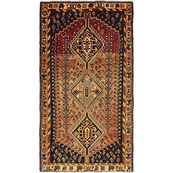 Hand Knotted Shiraz Semi Antique Wool Area Rug - 4' 4 x 8'