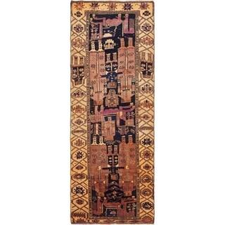Hand Knotted Shiraz-Lori Semi Antique Wool Runner Rug - 4' 2 x 11' 6