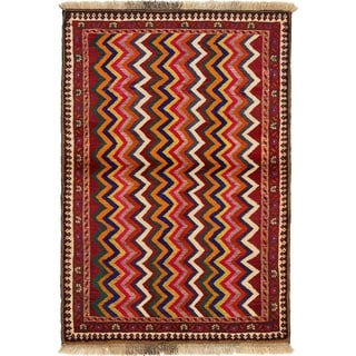 Hand Knotted Shiraz-Gabbeh Wool Area Rug - 3' 6 x 5'