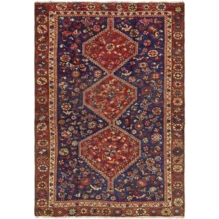 Hand Knotted Shiraz Semi Antique Wool Area Rug - 4' 6 x 6' 6