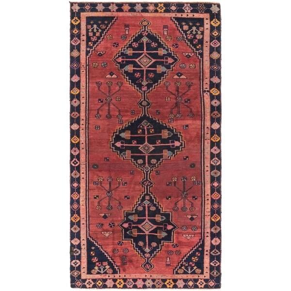 Hand Knotted Shiraz Semi Antique Wool Runner Rug - 4' x 8'