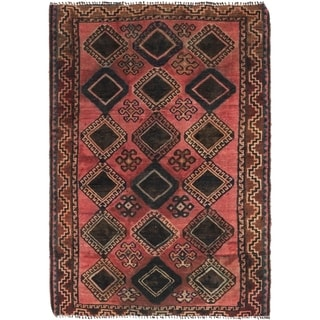 Hand Knotted Shiraz Semi Antique Wool Area Rug - 4' 7 x 6' 9