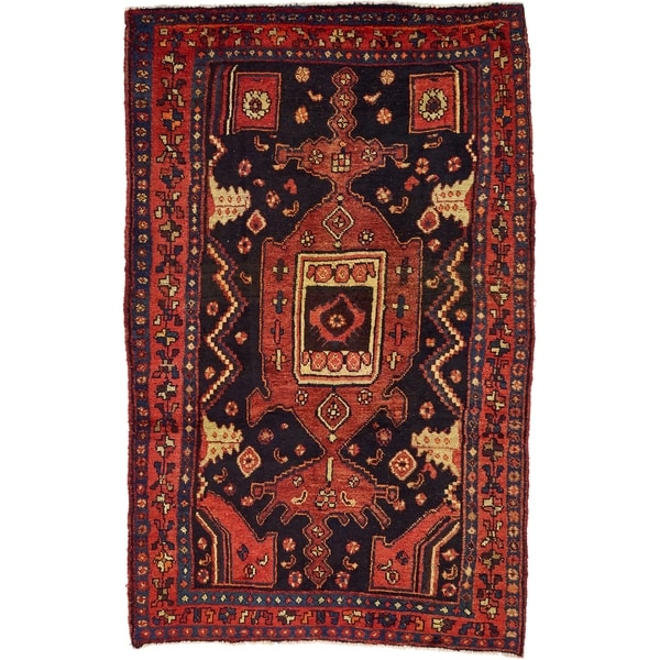 Hand Knotted Sirjan Wool Area Rug - 4' 4 x 6' 10