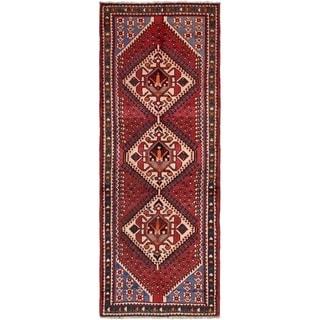 Hand Knotted Shiraz Semi Antique Wool Runner Rug - 3' 5 x 9' 9