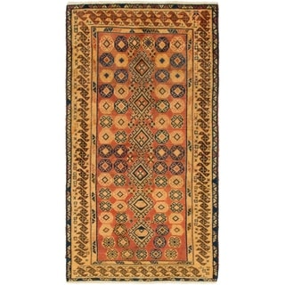 Hand Knotted Shiraz-Gabbeh Wool Area Rug - 3' 6 x 6' 7