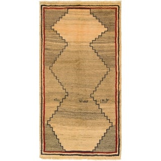 Hand Knotted Shiraz-Gabbeh Wool Area Rug - 3' 3 x 6' 3