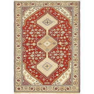 Hand Knotted Sirjan Wool Area Rug - 4' 2 x 5' 9
