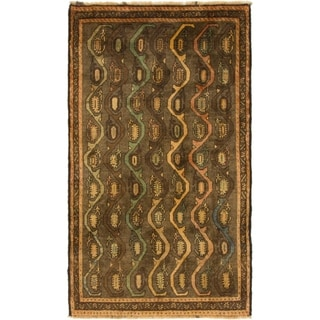 Hand Knotted Shiraz-Gabbeh Wool Area Rug - 3' 5 x 6'