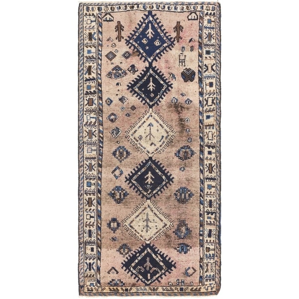 Hand Knotted Shiraz Antique Wool Runner Rug - 3' 10 x 8' 5