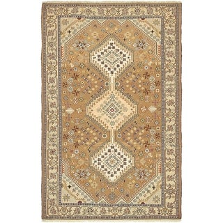 Hand Knotted Sirjan Wool Area Rug - 4' 2 x 6' 8