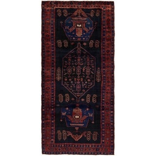 Hand Knotted Sirjan Semi Antique Wool Runner Rug - 4' 6 x 9' 8