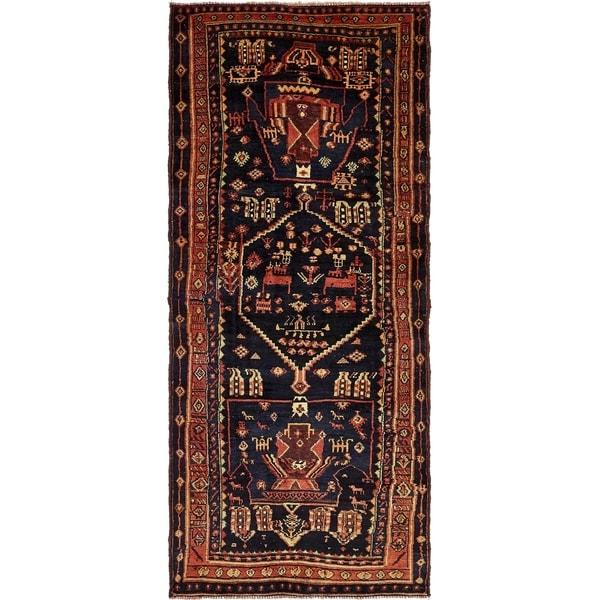 Hand Knotted Shiraz Semi Antique Wool Runner Rug - 4' 5 x 10' 7