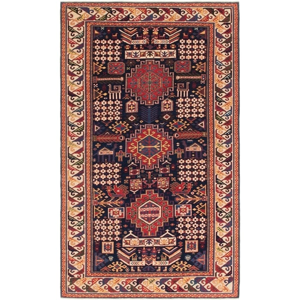 Hand Knotted Shirvan Wool Area Rug - 5' 3 x 9'