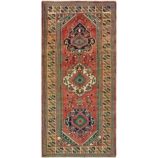 Hand Knotted Shiraz Semi Antique Wool Runner Rug - 4' 8 x 9' 10