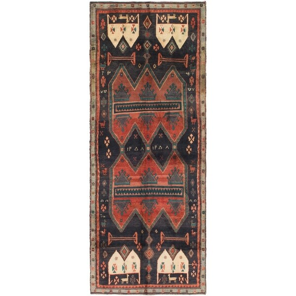 Hand Knotted Sirjan Antique Wool Runner Rug - 3' 8 x 9' 9