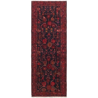 Hand Knotted Sirjan Semi Antique Wool Runner Rug - 3' 5 x 9' 7
