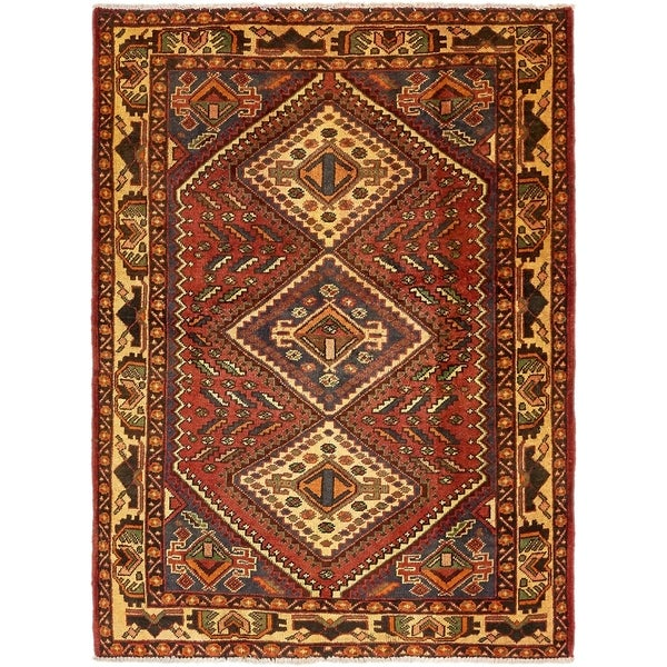 Hand Knotted Shiraz Semi Antique Wool Area Rug - 5' x 6' 10