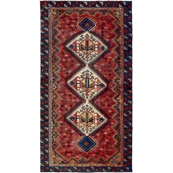 Hand Knotted Shiraz Semi Antique Wool Area Rug - 5' 1 x 9' 6