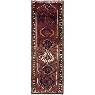 Hand Knotted Shiraz Wool Runner Rug - 4' 3 x 12' 7