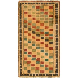 Hand Knotted Shiraz-Gabbeh Wool Area Rug - 3' 7 x 6' 4