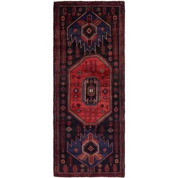 Hand Knotted Sirjan Semi Antique Wool Runner Rug - 3' 10 x 10' 5