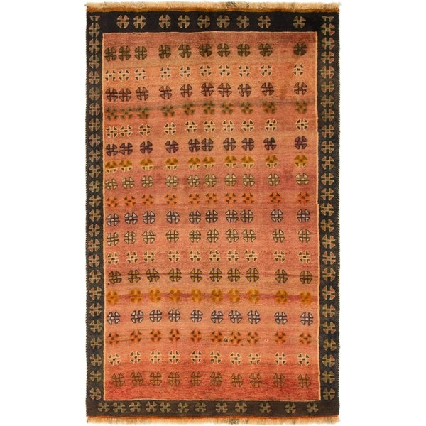 Hand Knotted Shiraz-Gabbeh Wool Area Rug - 3' 8 x 6'