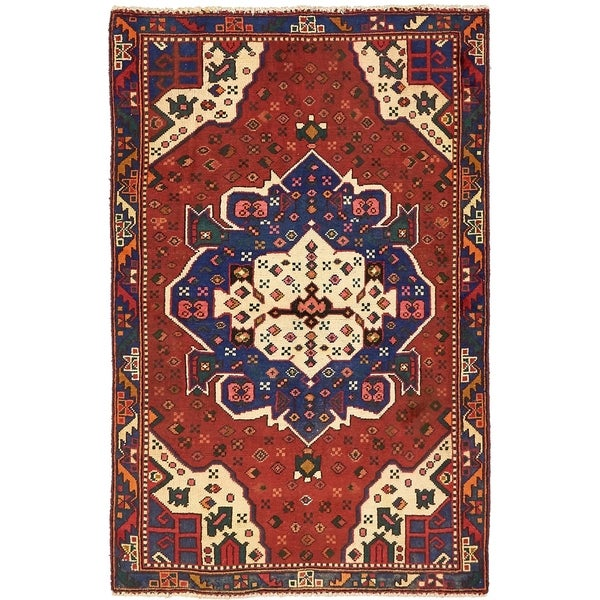 Hand Knotted Shiraz Semi Antique Wool Area Rug - 4' x 6' 4