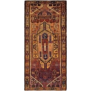 Hand Knotted Shiraz-Lori Semi Antique Wool Runner Rug - 4' 7 x 10' 2