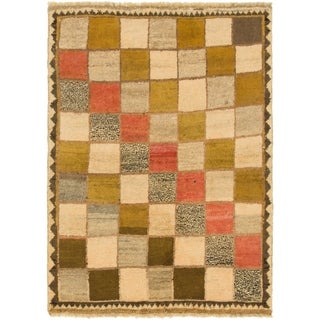 Hand Knotted Shiraz-Gabbeh Wool Area Rug - 3' 5 x 4' 10