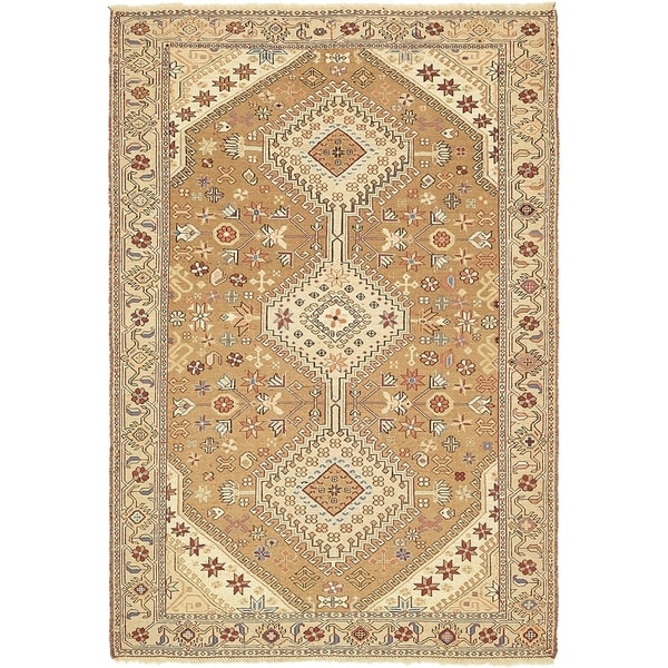 Hand Knotted Sirjan Wool Area Rug - 4' x 5' 10