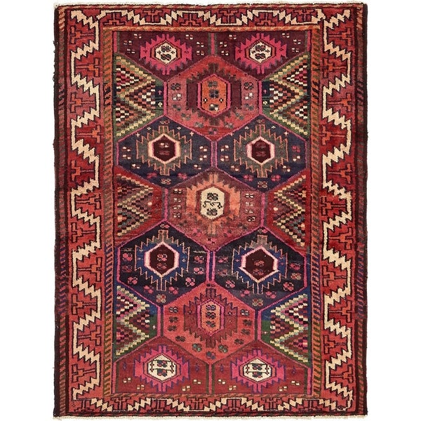 Hand Knotted Shiraz-Lori Semi Antique Wool Area Rug - 4' 6 x 6' 1