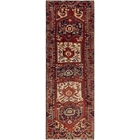 Hand Knotted Shiraz-Lori Semi Antique Wool Runner Rug - 3' 10 x 11' 6