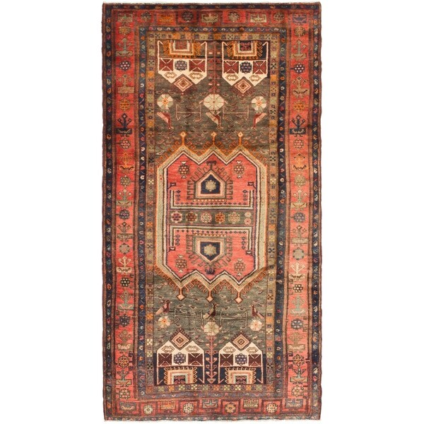 Hand Knotted Sirjan Antique Wool Runner Rug - 4' 5 x 9'