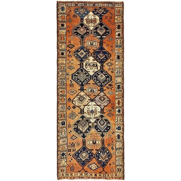 Hand Knotted Shiraz-Lori Semi Antique Wool Runner Rug - 4' 10 x 12' 3