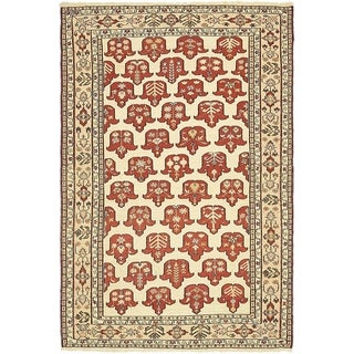 Hand Knotted Sirjan Wool Area Rug - 3' 9 x 5' 9